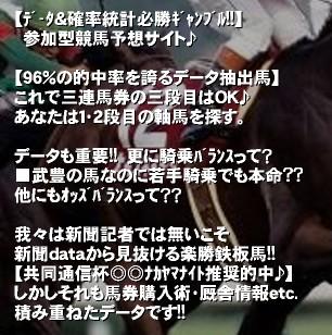 【データ&確率統計必勝ギャンブル!!】  参加型競馬予想サイト♪  【96%の的中率を誇るデータ抽出馬】 これで三連馬券の三段目はOK♪ あなたは1・2段目の軸馬を探す。  データも重要!! 更に騎乗バランスって? ■武豊の馬なのに若手騎乗でも本命?? 他にもオッズバランスって??  我々は新聞記者では無いこそ 新聞dataから見抜ける楽勝鉄板馬!! 【共同通信杯◎◎ナカヤマナイト推奨的中♪】 しかしそれも馬券購入術・厩舎情報etc. 積み重ねたデータです!!'競馬で馬券を的中する!!  2011年も5ヶ月が過ぎました。アナタの競馬・馬券、いかがですか!? 鉄板レースにもう1頭軸馬が欲しくありませんか!?   【96%の的中率を誇るデータ抽出馬】  これを利用して複勝→ワイド→三連複→そして三連単を的中しませんか♪   【[データ&確率統計必勝ギャンブル]=[デー確]】で三連単的中率&回収率UPを!! 【推奨馬的中】■富士S:ダノンヨーヨー三連単ミリオン171万馬券は、ヒモまで完璧予想♪■宝塚記念ブエナビスタ&アーネストリー軸=ナカヤマフェスタで全員歓喜♪■テイエムオーロラ1着,ダッシャーゴーゴー1着,クイーンS:プロヴィナージュ2着etc.  【馬券購入術も予想の超重要ファクター!!】 競馬は◎1着でも馬券にならない時もある スカイプ利用でデー確仲間達と競馬スキルを互いに学ぼう(管理人ワカID:wakamatsu18)   多数の競馬キチ◎イの脳ミソからの「気付き・価値観の参考」これは誰しもが必要!! [映像分析,予想論拠チャット,競馬予想MTG]などを強者と多彩に行った上で、取捨選択・馬券結論。そして的中への自恃と移行すべし♪ 予想記載onlyなんてツマらん!! と思うアナタは、このSNSに感動して下さい☆彡馬券 的中 三連単 過去データ デー確 ワカ ◎ 競馬 重賞
